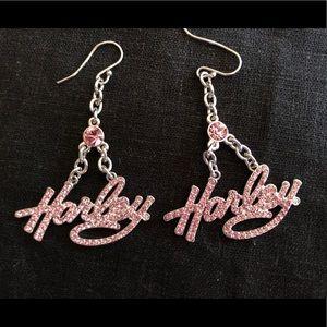 Pink Rhinestone dangle earrings